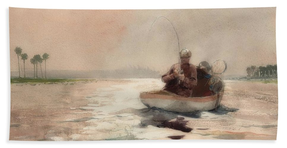 Painting Beach Towel featuring the painting Bass Fishing In Florida by Winslow Homer