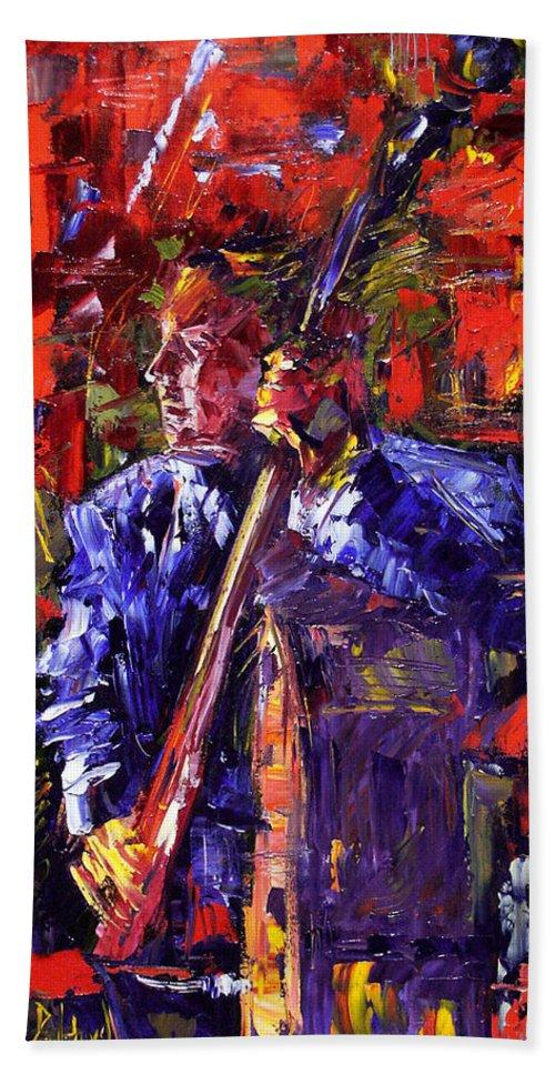 Jazz Beach Towel featuring the painting Bass Walk-up by Debra Hurd