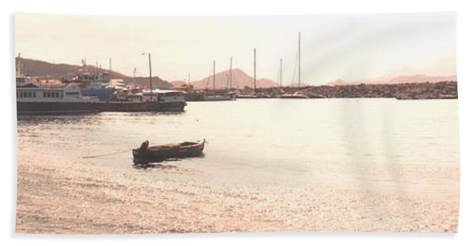 St Kitts Beach Sheet featuring the photograph Basseterre Harbour by Ian MacDonald