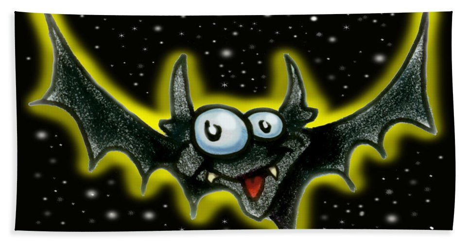 Bat Beach Towel featuring the greeting card Bat by Kevin Middleton