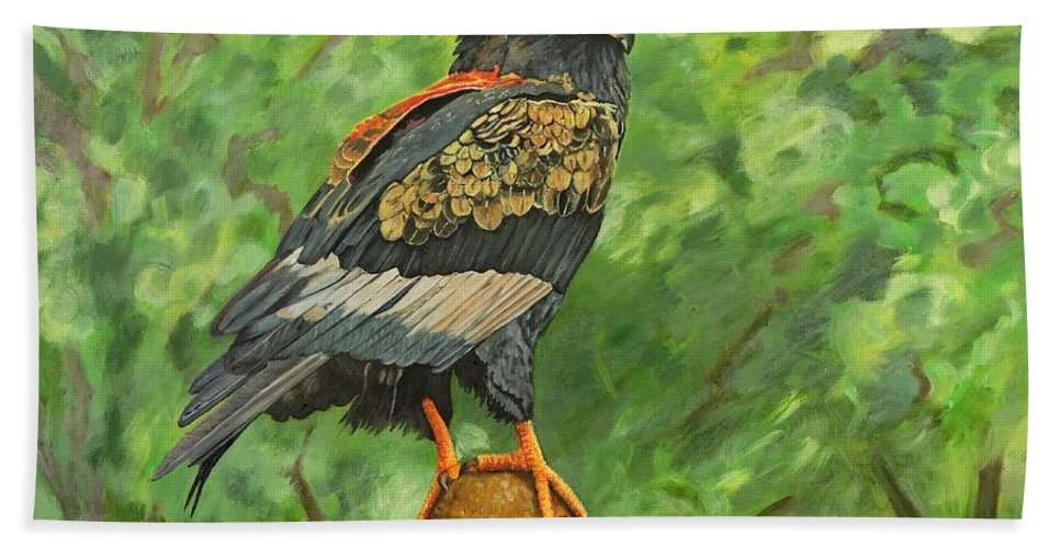 Eagle Beach Towel featuring the painting Bataleur Eagle by Caroline Street