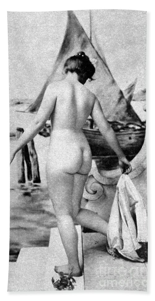 1902 Beach Towel featuring the photograph Bathing Nude, 1902 by Granger