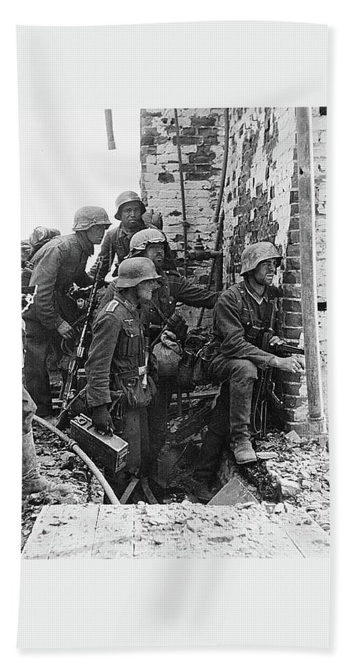 Battle Of Stalingrad Nazi Infantry Street Fighting 1942 Beach Sheet featuring the photograph Battle Of Stalingrad Nazi Infantry Street Fighting 1942 by David Lee Guss