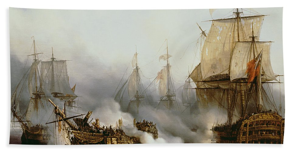 Battle Of Trafalgar By Louis Philippe Crepin Beach Towel featuring the painting Battle of Trafalgar by Louis Philippe Crepin