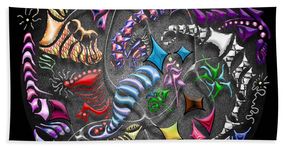 Abstract Beach Towel featuring the digital art Battling Kites -- Black by Mark Sellers