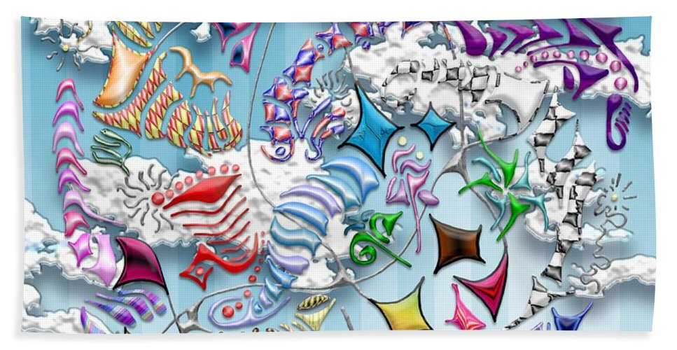 Abstract Beach Towel featuring the digital art Battling Kites -- Blue by Mark Sellers