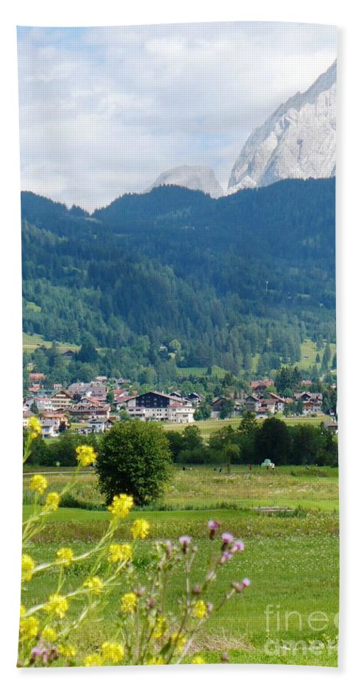 Bavaria Beach Sheet featuring the photograph Bavarian Alps With Village And Flowers by Carol Groenen