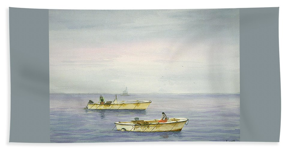 Beach Towel featuring the painting Bay Boats Scalloping by Tony Scarmato
