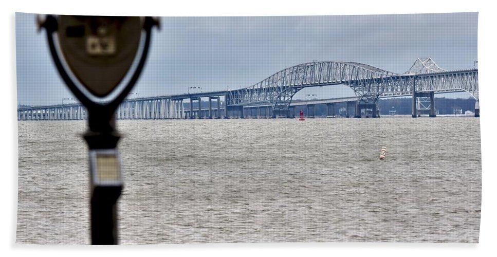 Chesapeake Bay Bridge Beach Towel featuring the photograph Bay Bridge by Jeramey Lende