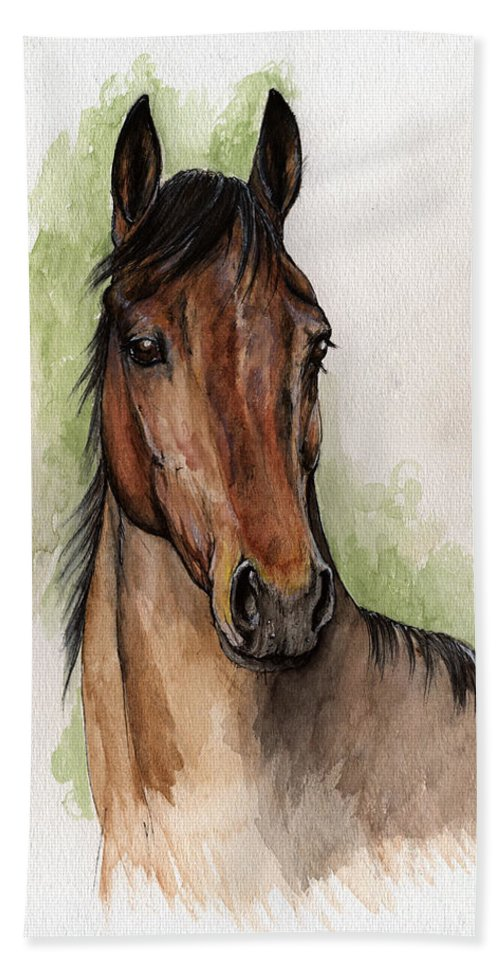 Horse Beach Towel featuring the painting Bay Horse Portrait Watercolor Painting 02 2013 by Angel Ciesniarska