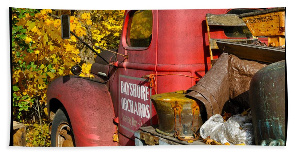 Truck Beach Towel featuring the photograph Bayshore Orchards by Tim Nyberg