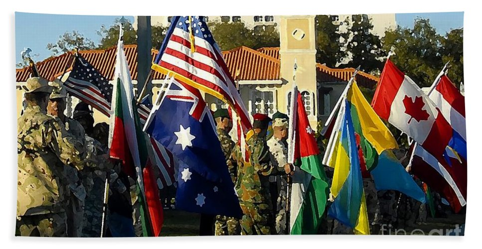 Bayshore Beach Towel featuring the photograph Bayshore Patriots by David Lee Thompson