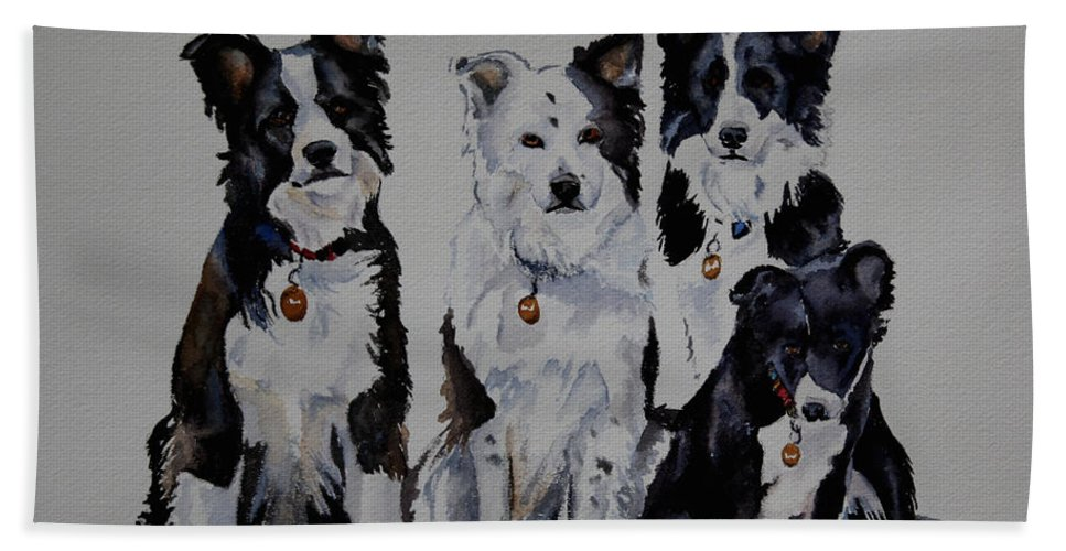 Animal Beach Towel featuring the painting Bc Family Portrait by Susan Herber