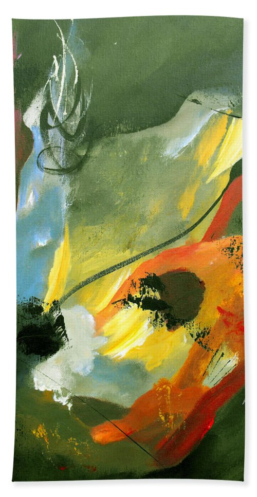 Abstract Beach Towel featuring the painting Be Faithful by Ruth Palmer