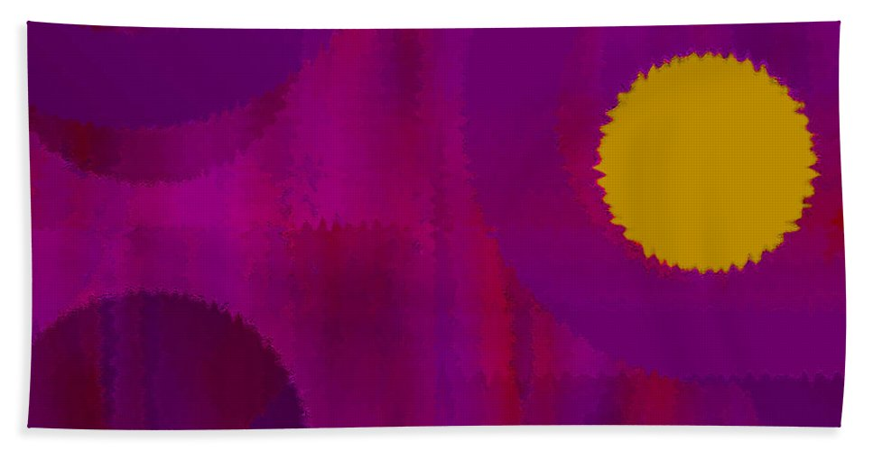 Abstract Beach Towel featuring the digital art Be Happy II by Ruth Palmer