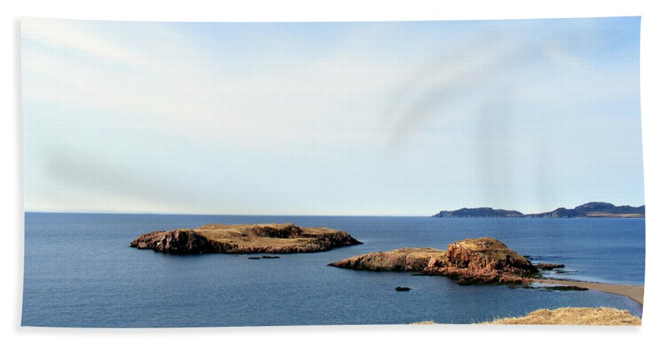 Beach Beach Towel featuring the photograph Beach And Rocky Shoreline by Barbara Griffin