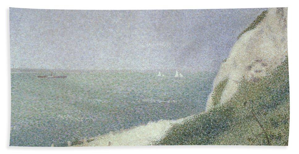 Beach At Bas Butin Beach Towel featuring the painting Beach At Bas Butin by Georges Pierre Seurat