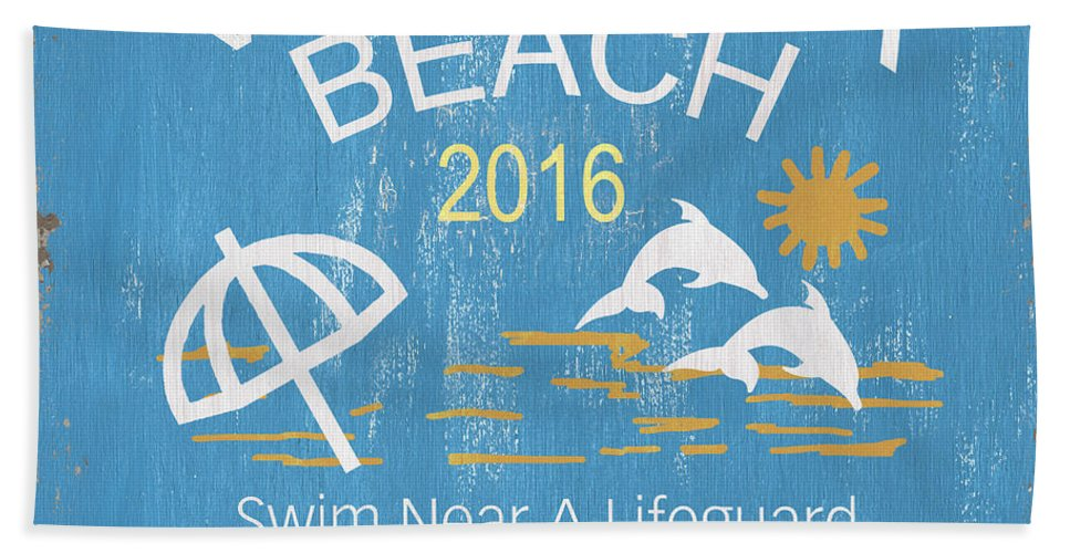 Nantucket Beach Towel featuring the painting Beach Badge Virginia Beach by Debbie DeWitt