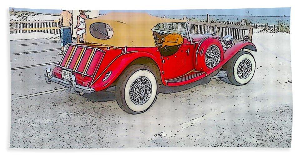 Beach Beach Towel featuring the photograph Beach Car by Michelle Powell
