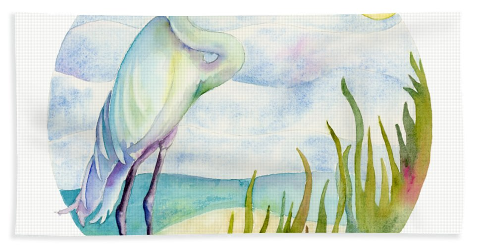 White Bird Beach Towel featuring the painting Beach Heron by Amy Kirkpatrick