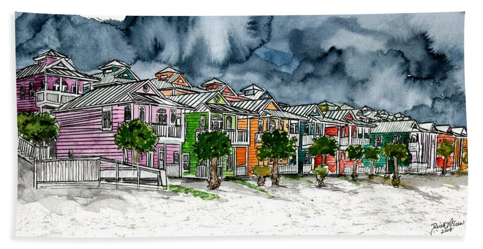 Watercolor Beach Towel featuring the painting Beach Houses Watercolor Painting by Derek Mccrea