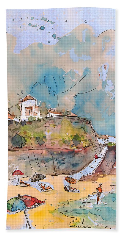 Portugal Art Beach Towel featuring the painting Beach In Ericeira In Portugal by Miki De Goodaboom