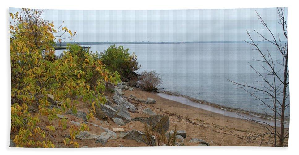 Lake Michigan Beach Towel featuring the photograph Beach In Escanaba by Linda Kerkau