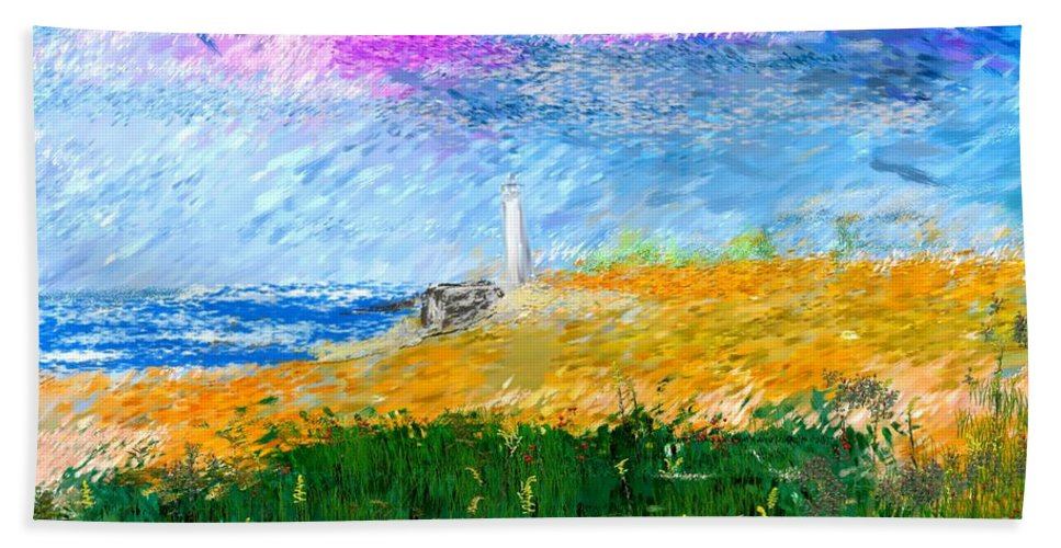 Digital Painting Beach Towel featuring the digital art Beach Lighthouse by David Lane