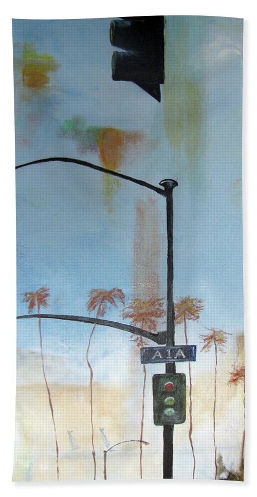 Beach Beach Towel featuring the painting Beach Lights by Gary Smith