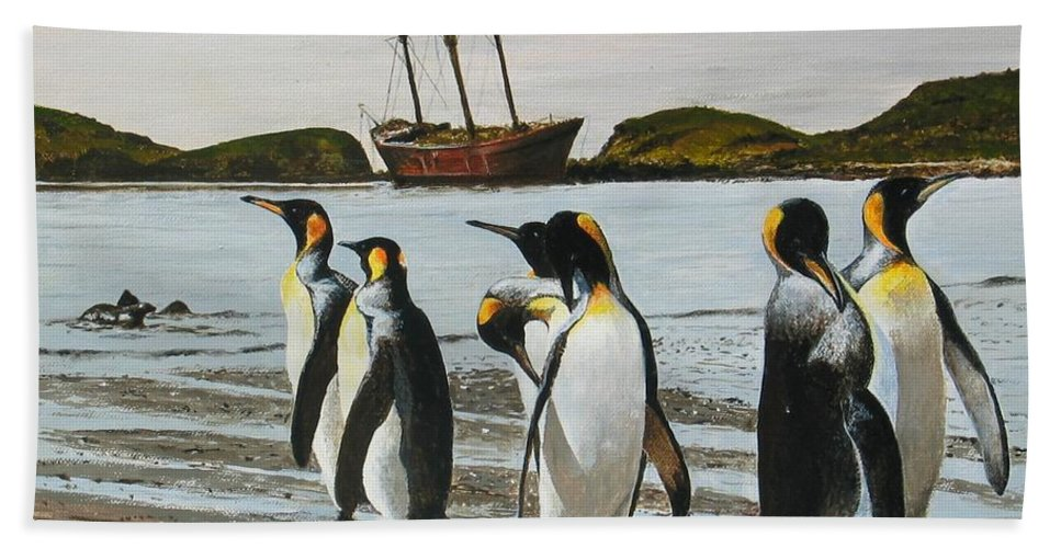 Penguins Beach Towel featuring the painting Beach Party by Robert Hilton