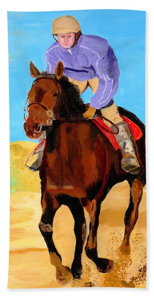 Horse Beach Towel featuring the painting Beach Rider by Rodney Campbell