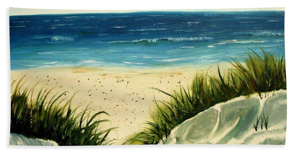 Beach Beach Towel featuring the painting Beach Sand Dunes Acrylic Painting by Derek Mccrea