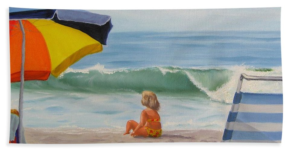 Seascape Beach Sheet featuring the painting Beach Scene - Childhood by Lea Novak
