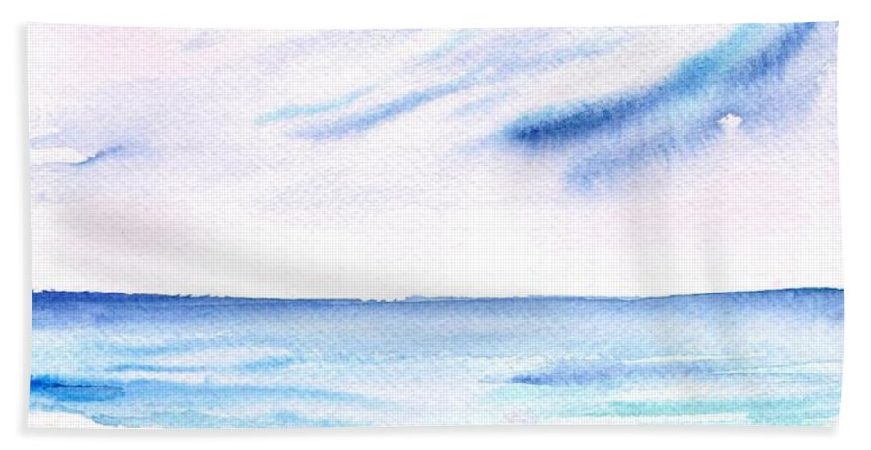 Watercolopr Painting Beach Towel featuring the painting Beach by Sweeping Girl