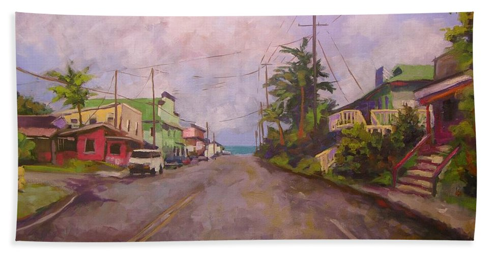 Tropical Beach Towel featuring the painting Beach Town by Mary McInnis