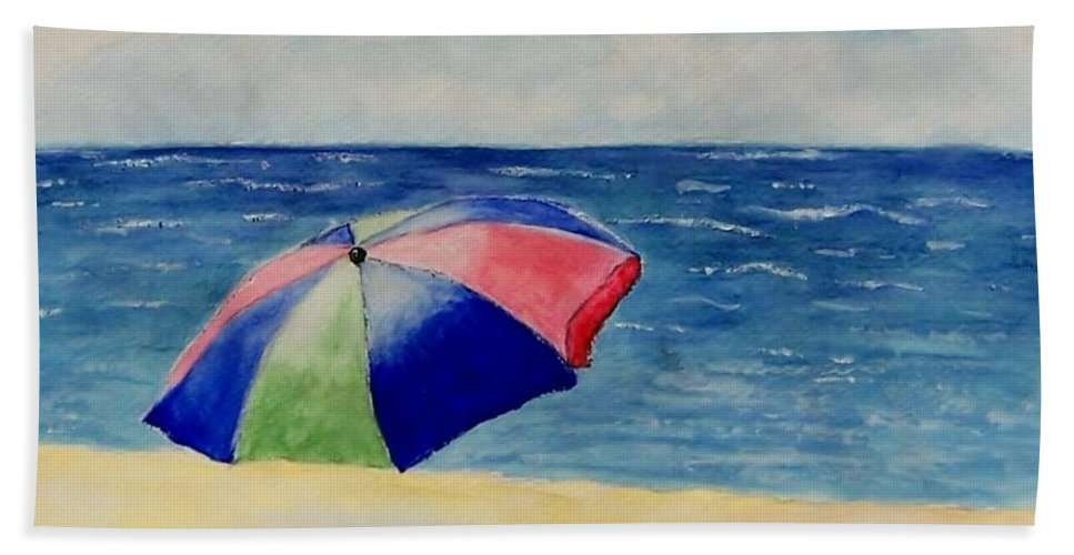 Beach Beach Towel featuring the painting Beach Umbrella by Jamie Frier
