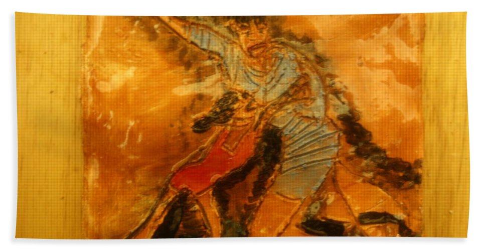 Jesus Beach Towel featuring the ceramic art Beachtime - Tile by Gloria Ssali