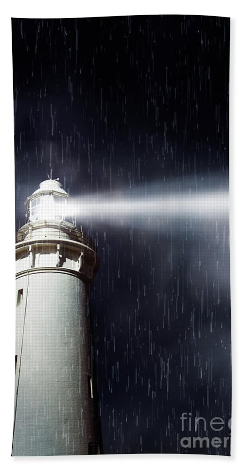 Nautical Beach Towel featuring the photograph Beaming Lighthouse by Jorgo Photography - Wall Art Gallery