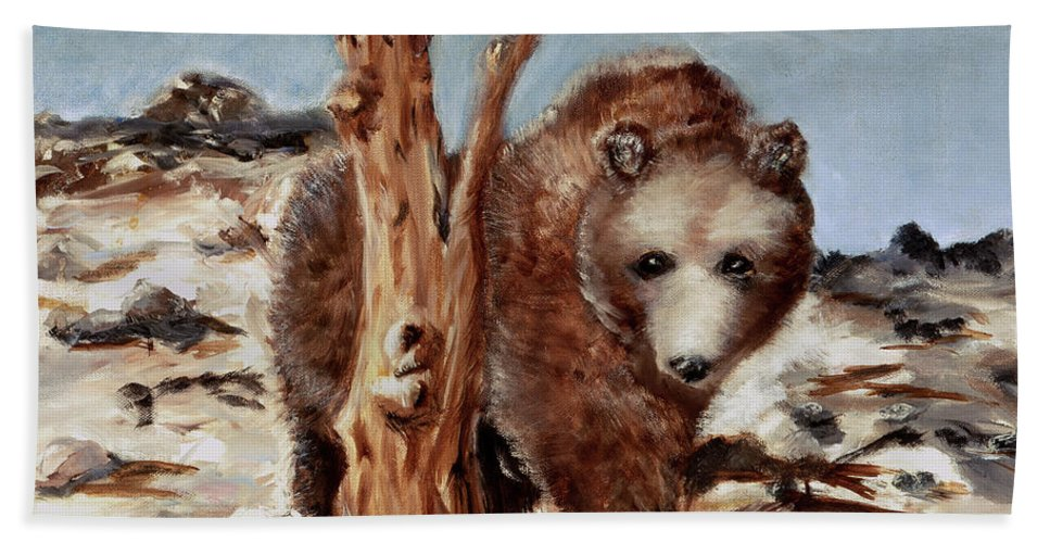 Bear Beach Towel featuring the painting Bear And Stump by Terry Lewey