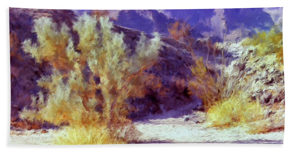 Desert Beach Towel featuring the painting Bear Creek Trail by Dominic Piperata