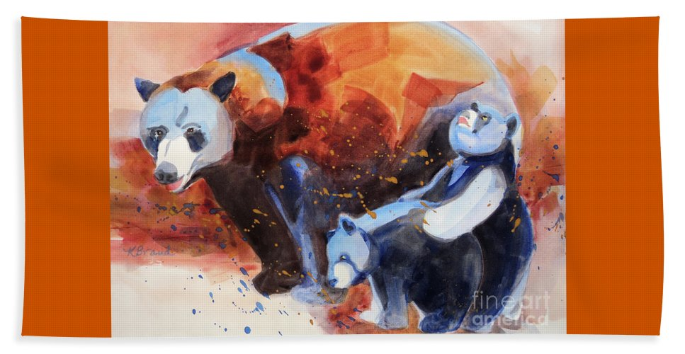 Paintings Beach Towel featuring the painting Bear Family Outing by Kathy Braud