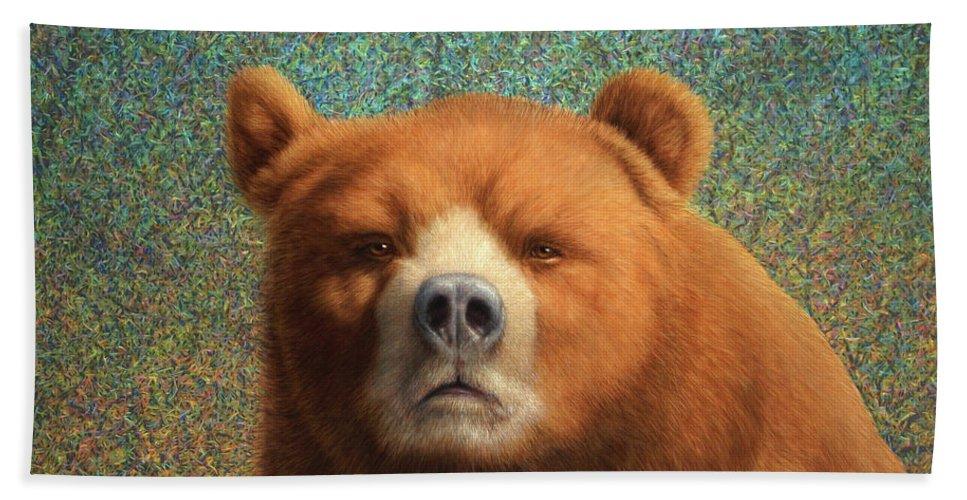 Bear Beach Towel featuring the painting Bearish by James W Johnson