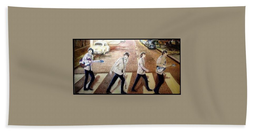Beatles Original Paintings Beach Towel featuring the painting Beatles Other Abbey Road by Leland Castro