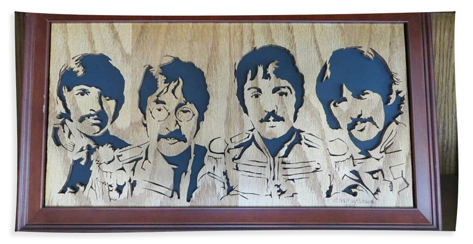 Beatles Beach Towel featuring the mixed media Beatles Sgt Pepper by Kris Martinson