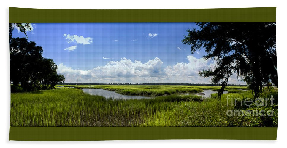 Beaufort Beach Towel featuring the photograph Beaufort Intracoastal Waterway by Yvette Wilson