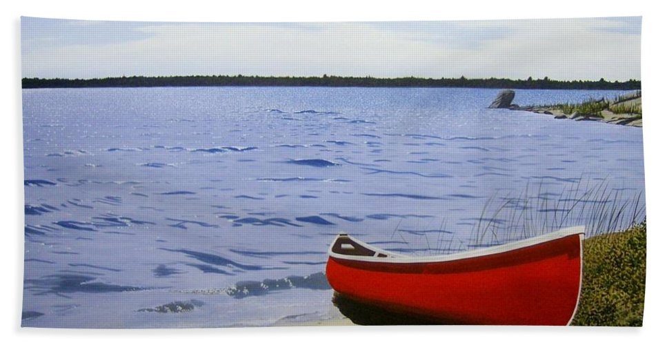 Landscpaes Beach Towel featuring the painting Beaultiful Red Canoe by Kenneth M Kirsch