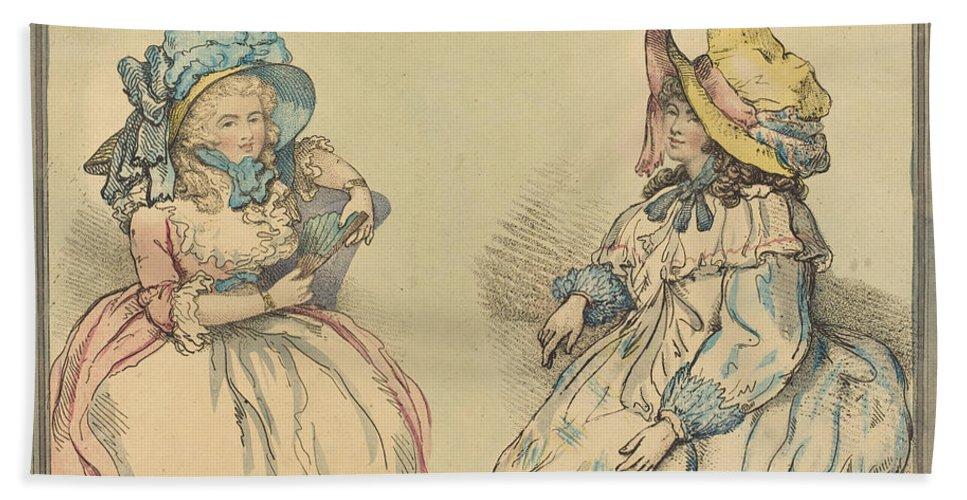 Beach Towel featuring the drawing Beauties by Thomas Rowlandson