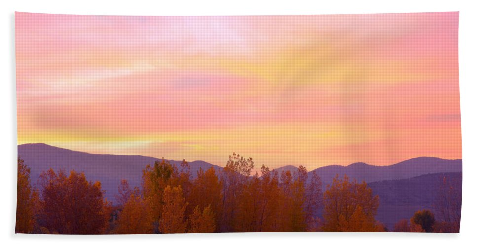 Sunsets Beach Towel featuring the photograph Beautiful Autumn Sunset by James BO Insogna