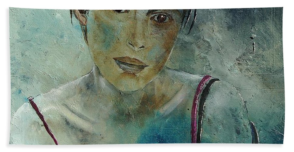 Girl Beach Towel featuring the painting Beautiful Face by Pol Ledent