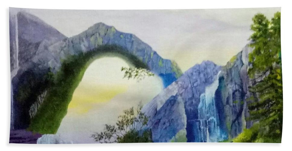 Nature Beach Towel featuring the painting Beautiful Landscape by Teesta Deshpande